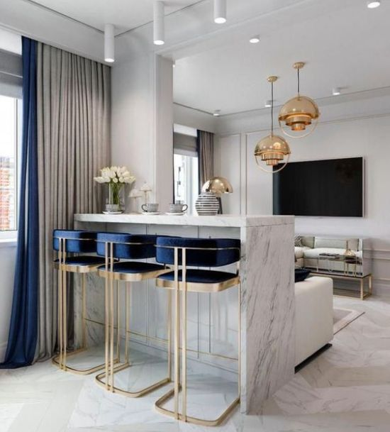 Bright Art Deco Barstools With Gold Framing And Navy Touches