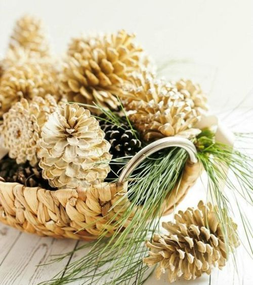Centerpiece Idea For Fall And Thanksgiving With A Wicker Bowl With Usual And Bleached Pinecones