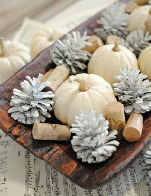 Centerpiece Idea For Fall And Thanksgiving With A Wooden Bowl And White Pumpkins Plus Whitewashed Pinecones And Wine Corks