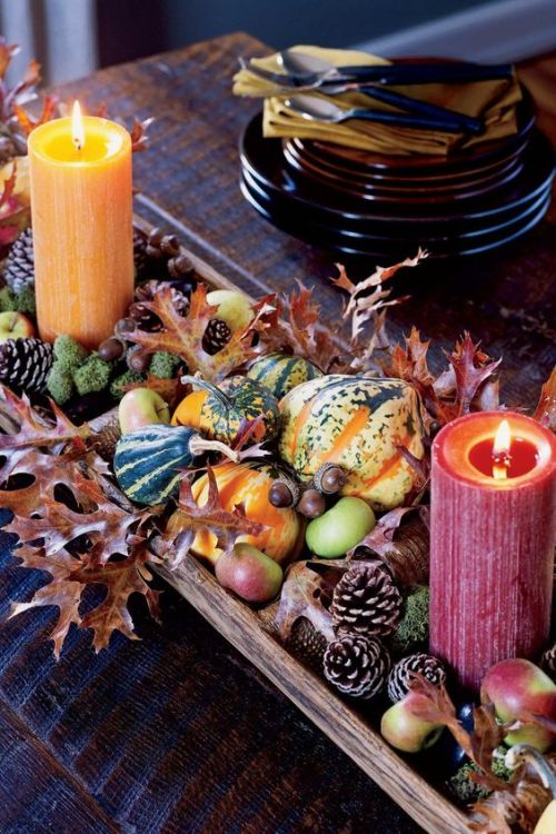 Centerpiece Idea For Fall And Thanksgiving With Pinecones And Apples Plus Leaves With Moss Plus Gourds And Colorful Candles