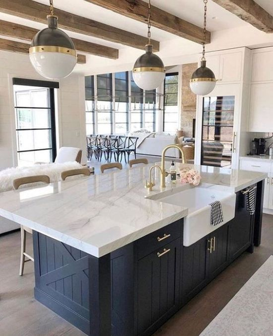 Chic Farmhouse Kitchen With Elegant Pendant Two Tone Lamps On Chains That Highlight The Mood And Style