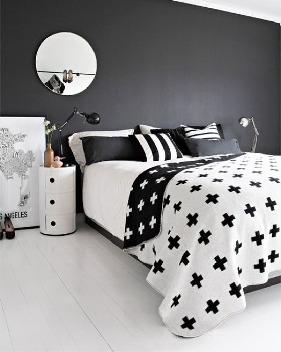 Chic Scandinavian Bedroom With A Black Accent Wall