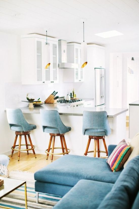 Comfortable Light Blue Upholstered Chairs