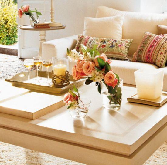 Contemporary Coffee Table With Some Fresh Blooms