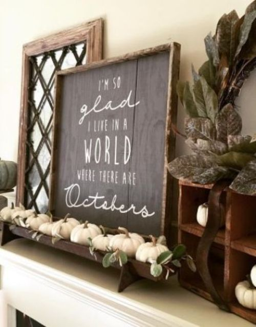 Creative And Unique Fall Sign To Welcome Autumn With A Chic Chalkboard Sign With White Letters Plus A Tray With White Pumpkins And Leaves For A Fall Mantel