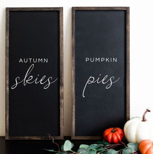 Creative And Unique Fall Sign To Welcome Autumn With A Duo Of Chalkboard Signs With White Letters