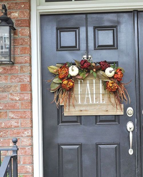 Creative And Unique Fall Sign To Welcome Autumn With A Reclaimed Wood Sign With Fake Blooms Plus Leaves And Veggies For Accenting Your Front Door