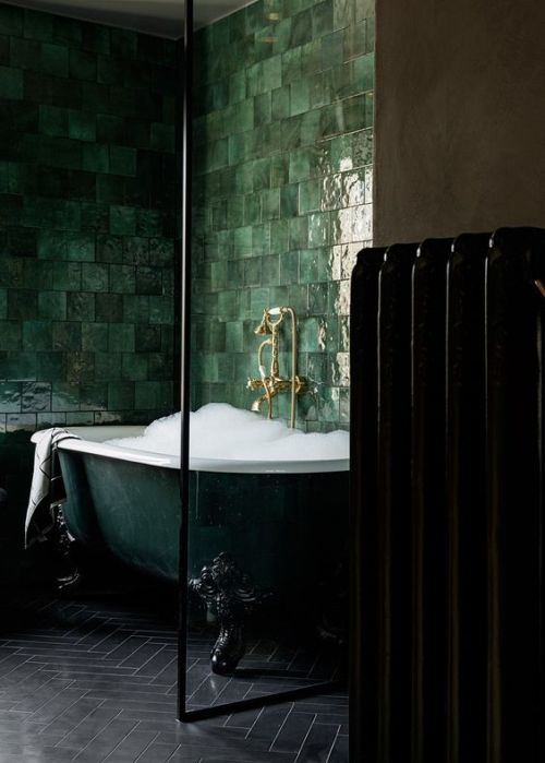 Exquisite Dark Green Clawfoot Bathtub Surrounded With Glossy Green Tiles On The Walls