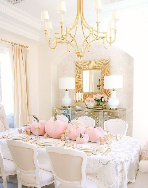 Fall Dining Room Decoration Idea With A Glam Fall Tablescape With Gold Touches And Light Pink Pumpkins And Neutral Blooms