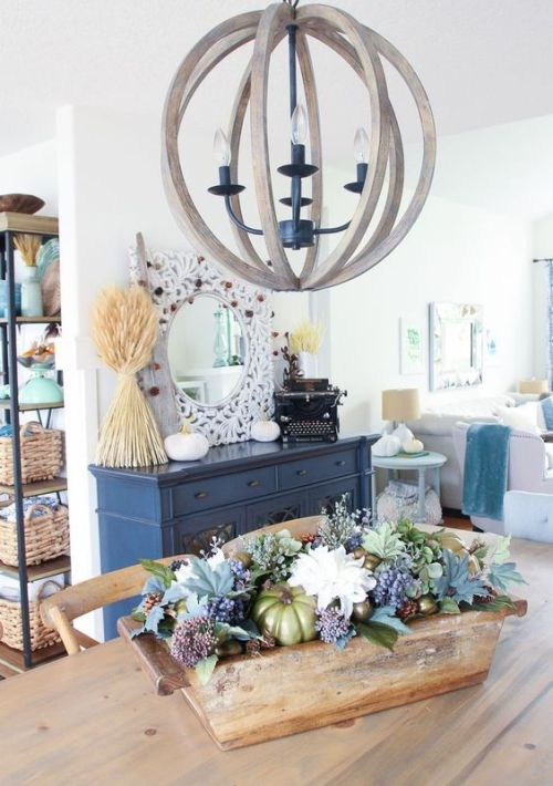 Fall Dining Room Decoration Idea With A Wooden Box And Neural Blooms And Pale Greenery Plus White Pumpkins And Wheat Arrangements For Fall Decor