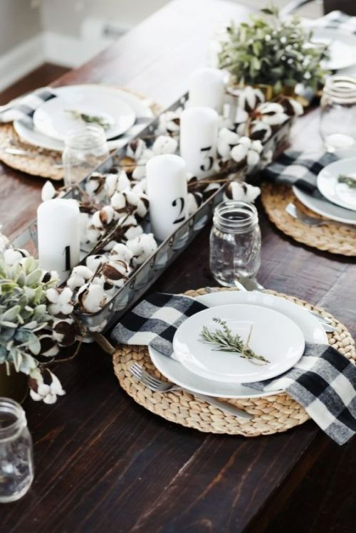 Fall Dining Room Decoration Idea With Cotton And Greenery And Candles Plus Woven Placemats And Plaid Napkins
