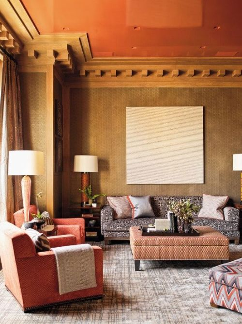 Fall Living Room Decoration Ideas With An Orange Ceiling And Chairs