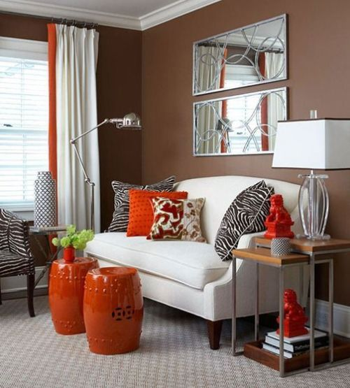 Fall Living Room Decoration Ideas With Bright Orange Side Tables Plus Pillows And Curtains