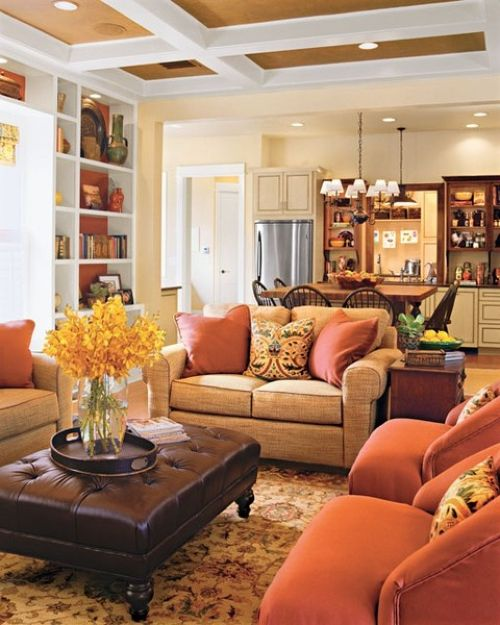 Fall Living Room Decoration Ideas With Orange Chairs And Pillows Plus A Yellow Bloom Arrangement