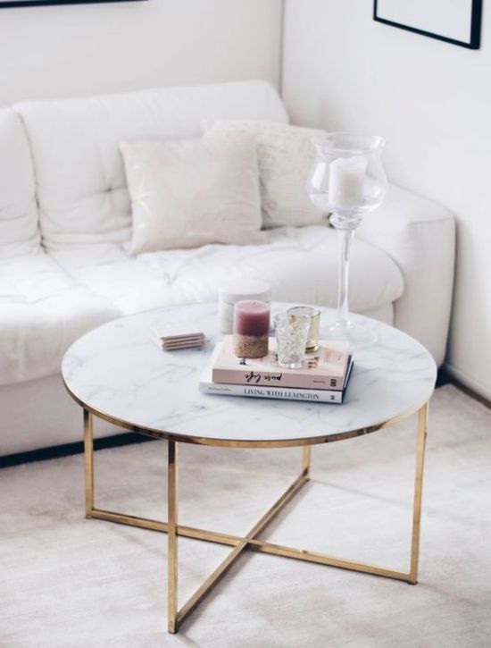 Glam Marble Coffee Table With Books And Candles Plushemisphere