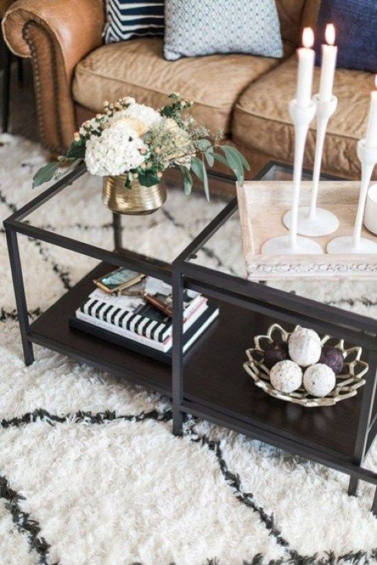 Glass And Stained Wood Coffee Table With Candles On A Tray