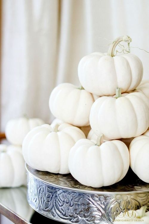 Home Decor Trend Ideas For Fall 2019 With A Vintage Metal Holder And A Stack Of White Pumpkins