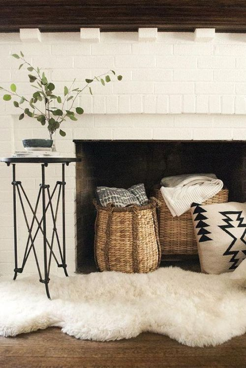 Home Decor Trend Ideas For Fall 2019 With Baskets With Blankets And Throws And A Faux Fur Rug
