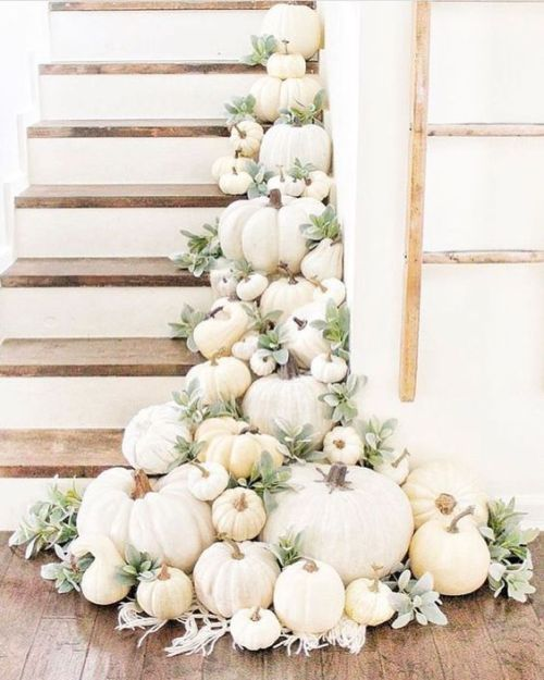 Home Decor Trend Ideas For Fall 2019 With White Pumpkins, Gourds And Pale Greenery
