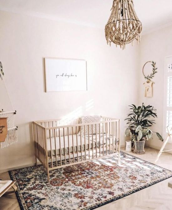 Light-Filled Boho Nursery With A Bead Chandelier