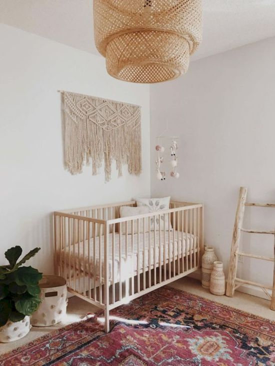 Minimal Boho Nursery With A Large Macrame