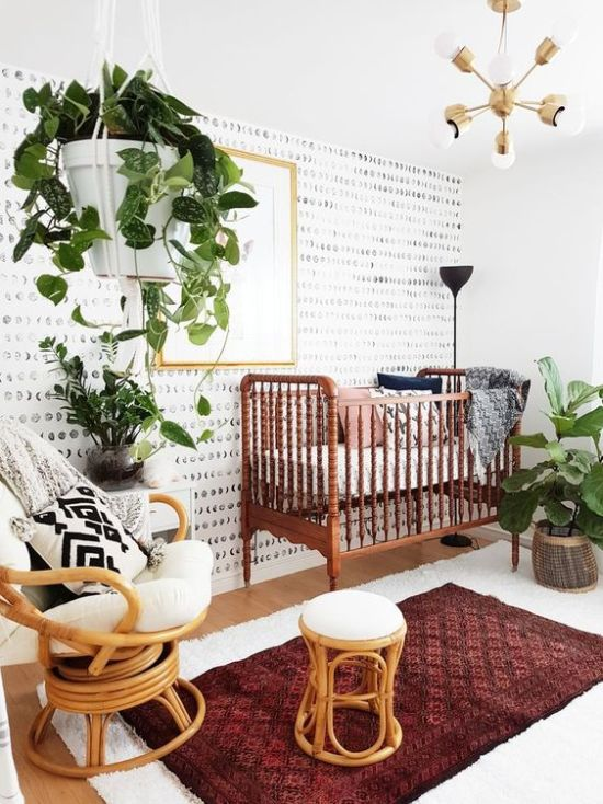 Modern Boho Nursery With A Vintage Crib