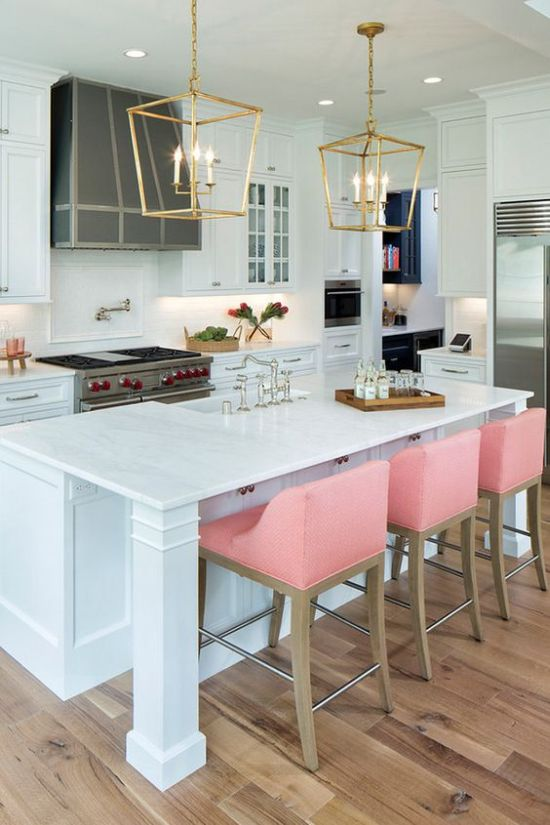 Monochromatic Kitchen With Pink Barstools