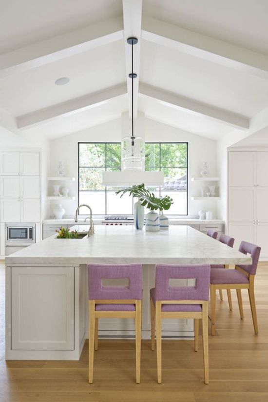 Neutral Kitchen With Lilac Upholstered Barstools