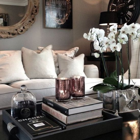 Refined Coffee Table Arrangement With Potted White Orchids