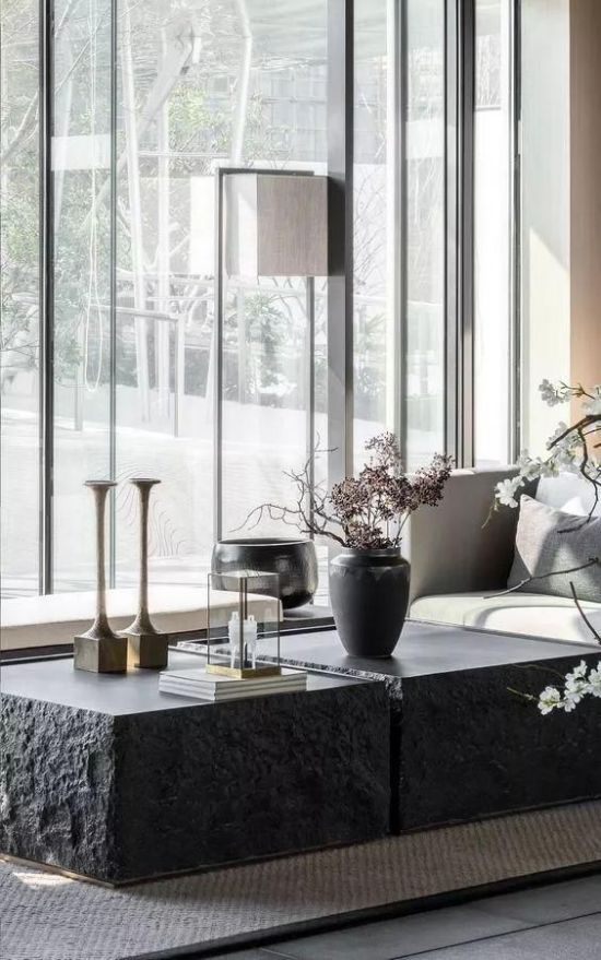Rough Black Coffee Tables With Candle Holders