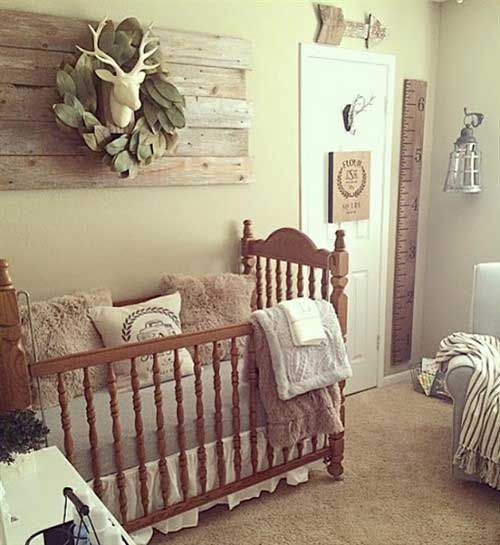 Small Vintage Farmhouse Nursery With A Reclaimed Wood Artwork A Vintage Crib Cozy Rugs And Furniture