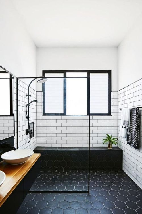 Stylish Black And White Bathroom Done With White Subway Tiles And Black Hexagon Ones