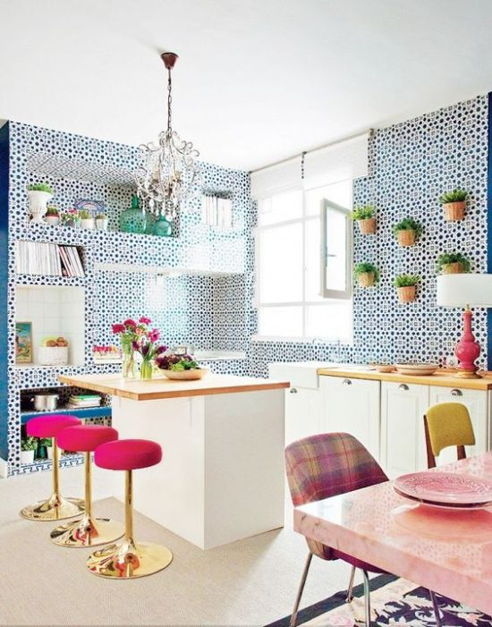 Super Bright Pink Barstools With Gold Bases