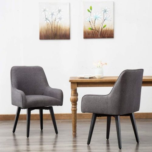 Upholstered Swivel Kitchen Chair With Armrests