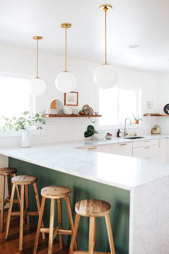 White Glass Bubble Pendant Lamps Continue The Decor Style Of The Kitchen Giving It A Light Feeling