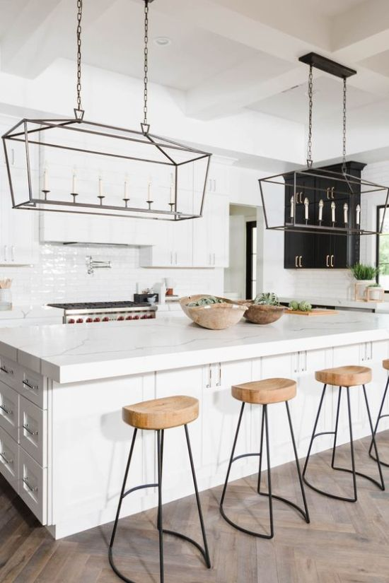 Wooden Kitchen Barstools With Black Metal Legs
