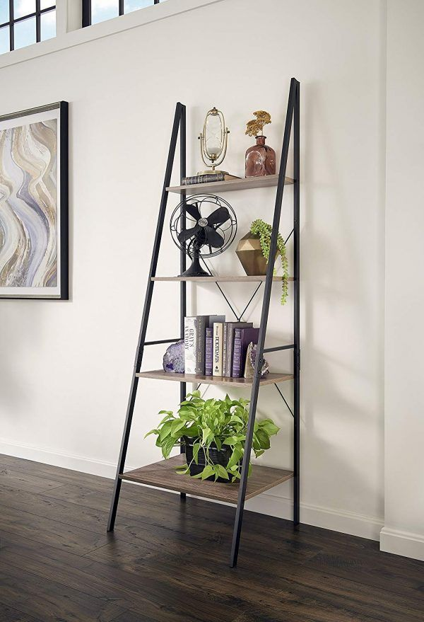 4 Tier Industrial Style Ladder Shelf