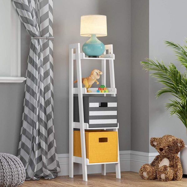 4-Tier White Ladder Shelf For Kids
