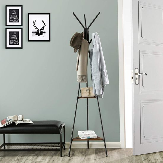 Coat Rack Hall Tree Free Standing With Industrial Style With 2 Shelves