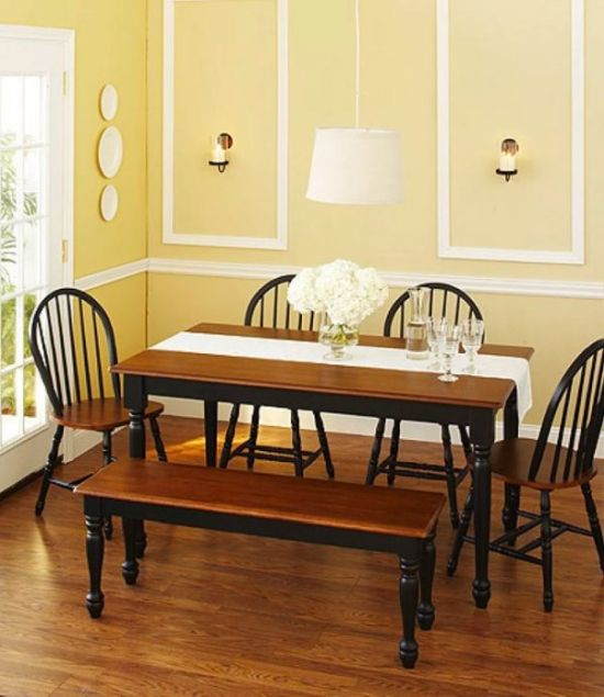 Country Style Dining Bench And Table Set