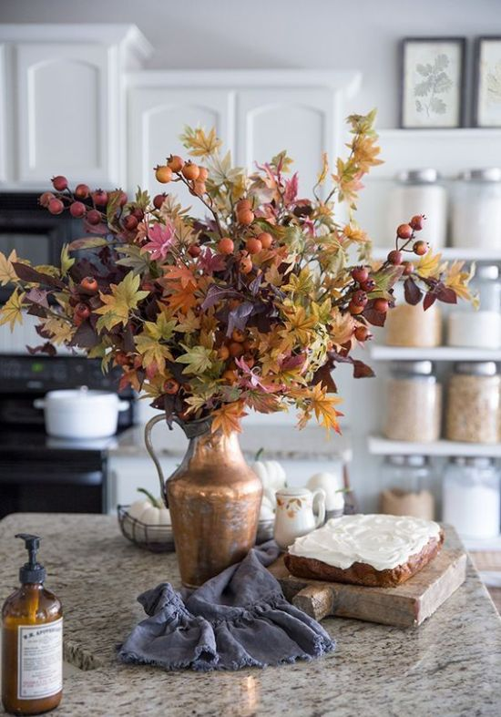Fall Kitchen Decoration Ideas With A Fantastic And Bright Fall Leaf And Berry Arrangement In A Metallic Vase