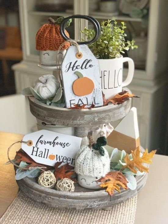 Fall Kitchen Decoration Ideas With A Whitewashed Wooden Stand With Faux Pumpkins And Fall Leaves