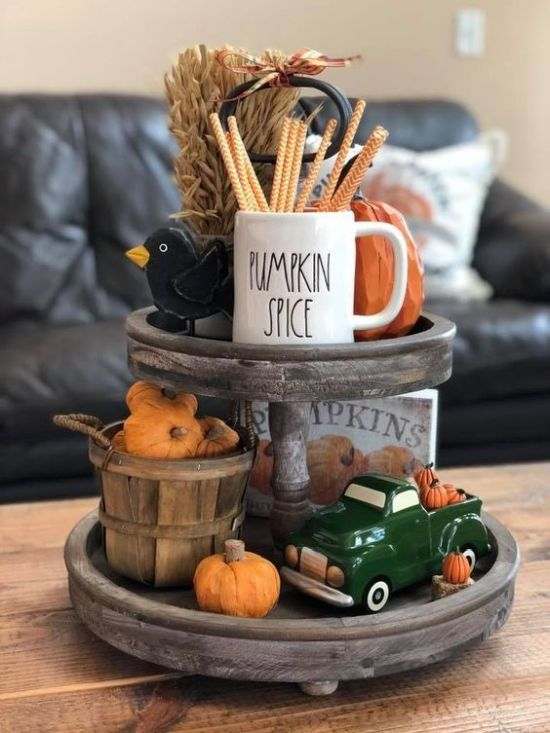Fall Kitchen Decoration Ideas With A Wooden Stand With Wheat And Fake Pumpkins