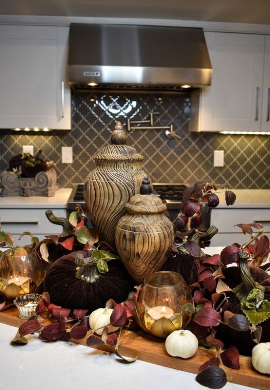 Fall Kitchen Decoration Ideas With Burgundy Leaves Plus Candles And White Pumpkins Plus Wooden Jars