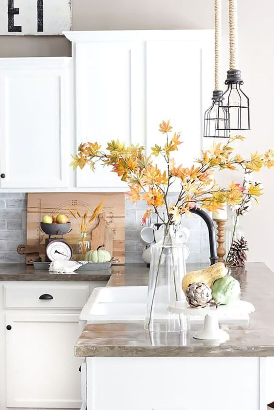Fall Kitchen Decoration Ideas With Clear Vase And Faux Veggies Plus Pinecones And Wheat In Vases