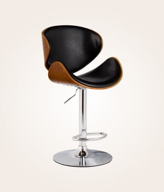 Faux Leather & Bentwood Height Adjustable Swivel Bar Stool