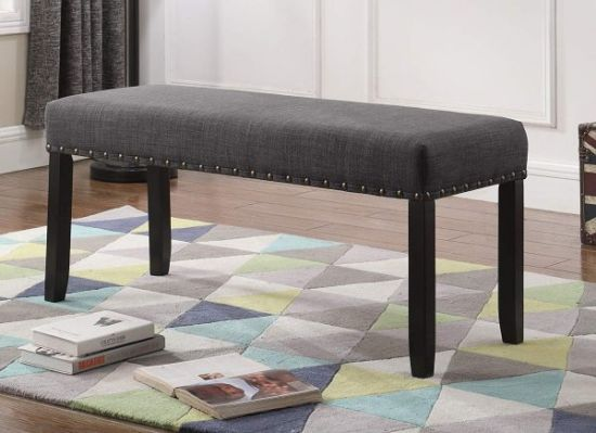 Grey Dining Bench With Nailhead Trim
