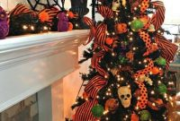 Halloween Tree Decoration Ideas Lights Bright Orange Ribbons Mini Skulls And Green And Orange Ornaments