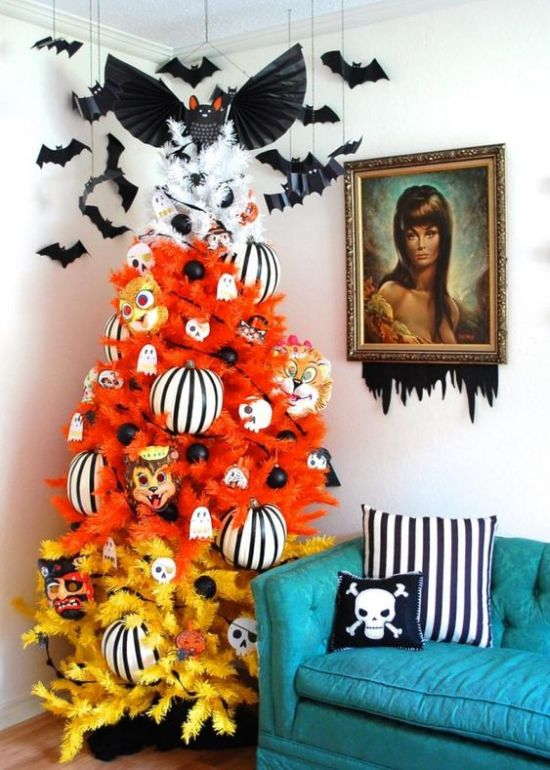 Halloween Tree Decoration Ideas With Ghosts Striped Ornaments Masks And Bats