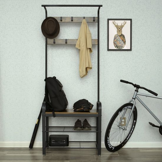 Industrial Standing Coat Rack Shoe Bench Hall Tree Entryway Storage Shelf